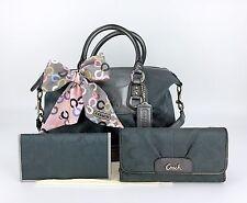 Coach 18777 Ashley Signature Convertible Purse Bag, Wallet, Checkbook, Scarf Set