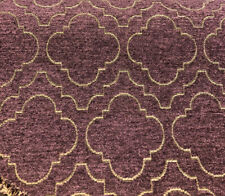Fabricut Purple Gold Emblem Chenille Upholstery Fabric by the yard