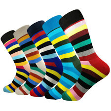 5 Pairs Mens Happy Cotton Socks Lot Colourful Rainbow Stripes Lengthen Socks