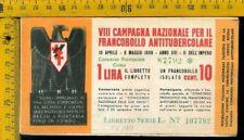 Libretto erinnofilo antitubercolare tv 177