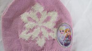 Girls FROZEN pink/white metallic winter hat sz 4 - 16
