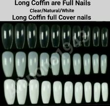 100/600Pc Long Coffin Full Cover Artificial False Nail Tips-Natural/Clear/White