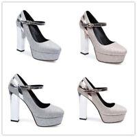 Womens Round Toe Platform High Block Heels Party Club Pumps Shiny Buckle Shoes