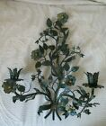 Vintage ITALY Metal Flower Leaf Wall Sconce Hanging Candle Holder Sculpture