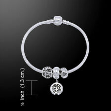 Om .925 Sterling Silver Bead Bracelet by Peter Stone