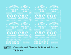 K4 TT Decals Centralia and Chester 34 Ft Wood Boxcar White