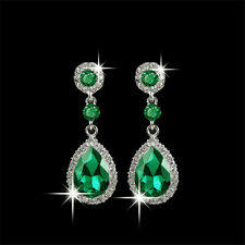 Fashion Women Silver Crystal Rhinestone Drop Dangle Ear Stud Earrings Jewelry
