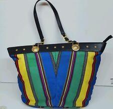 Vintage Versace Multicolored Canvas/Leather Tote, Large, Top Zipper closure,RARE