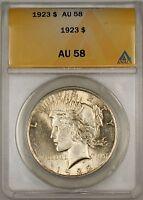 1923 Peace Silver Dollar $1 Coin ANACS AU-58 (10)