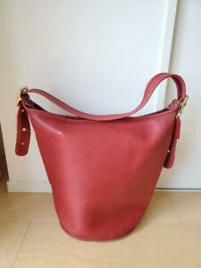 COACH Vintage Duffle Feed Sac Leather Shoulder Bucket Bag Red J5D 9085 USA