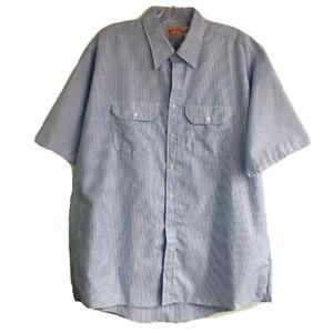 Red Kap Industrial Work Shirt Blue Stripes Men Size XXL Short Sleeve