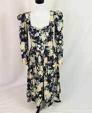 Vtg 80's GUNNE SAX Jessica McClintock Floral puffed sleeve dress sz 9