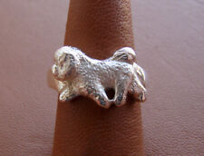 Sterling Silver Bichon Frise Moving Study Ring