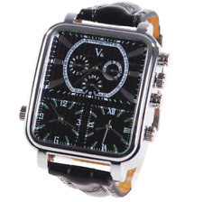 Military Army Apollo big face Men's Wrist Watch 3 time zone Quartz Black Leather