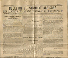1912.Jarnac,Segonzac et chateauneuf. Bulletin 8 pages.Syndicat Agricole. RARE+++