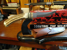 """AMERICAN HUNTER 8 1/2"""" STAG HANDLE BOWIE KNIFE WITH A 440 STAINLESS BLADE LEATH"""