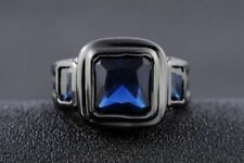 18K GOLD EP 2.5CT BLACK SAPPHIRE EMERALD CUT MENS RING size 8-12