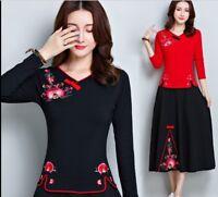 Top Chinese women Long Sleeve T-shirts Blouse V-Neck Cheongsam Qipao L-5XL