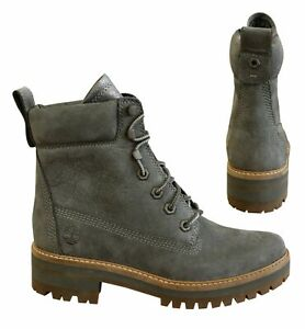Timberland 6 Inch Courmayeur Valley Hiking Grey Leather Womens Boots A1KLV B49E