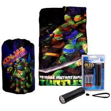 Ninjas Turtles Kids Slumber Sleeping Bag w Backpack + LED Flashlight + Batteries