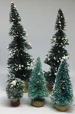 Lot Of 5 Christmas Village Accessories Trees Pine Ball Plants Snow Small Tall