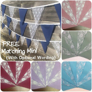 Fabric and Lace Bunting Handmade Wedding Decor 3-12m Party + Free Custom Minis
