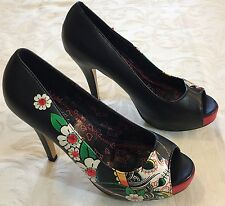 Women's IRON FIST All Hope Abandoned Tattoo Platform High Heel Shoes Retro Sz 8