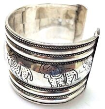 ELEPHANT Silver Oxidized Cuff Bracelet Charm Wristlet Wrist Band Bangle Jewelry