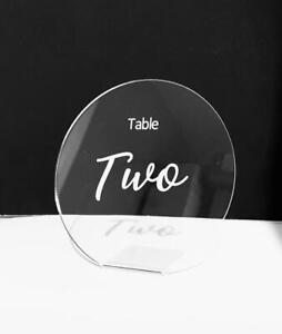 Round Wedding Table Numbers in Clear Acrylic in Calibre & Magic Font