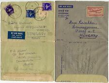 INDIA AIRLETTERS STATIONERY to HUNGARY 1964 + 1965
