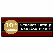 10Th Annual Family Reunion Picnic Custom Banner Sign 3' x 6' w/ 6 Grommets