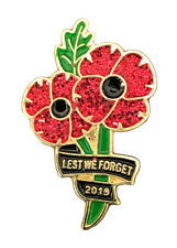 UK stock New 2019 Lest We Forget Military Army Red Poppy Enamel Pin Badge Brooch