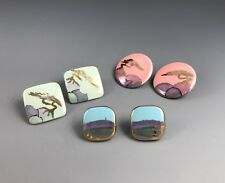 Lot of 3 Ceramic Post Earrings Gold Luster Glaze Pinks Blues Landscape Design