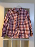 talbots petites pink long sleeve plaid button down long sleeve collared shirt PM