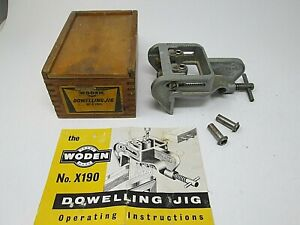 WODEN Dowelling Jig No X190 in Original Wooden Box Wood Working Tool Vintage  A3