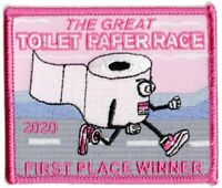 TP07 PINK GREAT TOILET PAPER RACE 2020 EMBROIDERED PATCH - IRON ON - BIOHAZARD