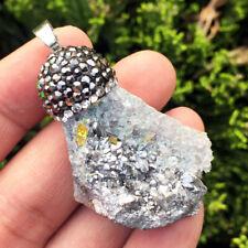 Titanium Crystal Agate Druzy Quartz Geode Stone Pave Crystal Pendant Bead  40x70