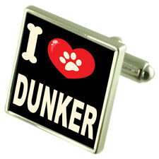 I Love My Dog Silver-Tone Cufflinks Dunker