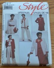Style 4917 Sewing Pattern Duster Cardigan Plazzo Pants Blouse Ruffle VTG 8 10 12