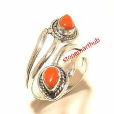 Handmade Ring Amazing Ring Jewelry Coral 925 Silver Overlay Ring