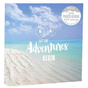 "Let The Adventures Begin Holiday Photo Album Holds 200 Slip In 4"" x 6"" & Memos"