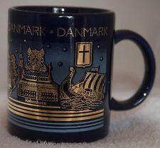 Denmark collectible souvenir cup black w/gold and blue