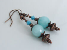 Turquoise Blue Faceted Amazonite & Swarovski Crystal Drop Pierced Earrings, Gift