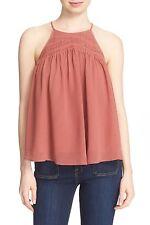 NWT- Joie Soseh Smocked Silk Sleeveless Top, Burnt Terracotta - Size XSmall
