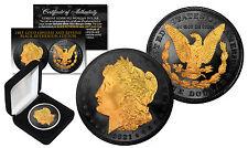 1921 Genuine AU MORGAN SILVER DOLLAR Coin w/ 24K Gold & BLACK RUTHENIUM 2-Sided