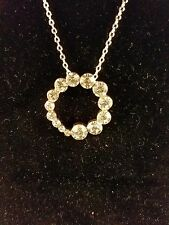 Necklace Silver Hoop with Rhinestones 17 inch 2