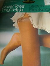 Thigh highs stretch stockings, bone & taupe color $12.00