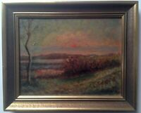 Antique Oil French Impressionism painting Sunset Landscape Armand GUILLAUMIN