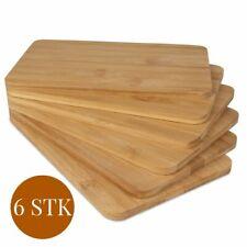 6er Set Bambus Frühstücksbrettchen Brettchen Schneidebrett Holz Frühstücksbrett