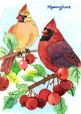 """ACEO Limited Edition 2.5""""x3.5""""- Cardinals in a crabapple tree, Bird art print"""